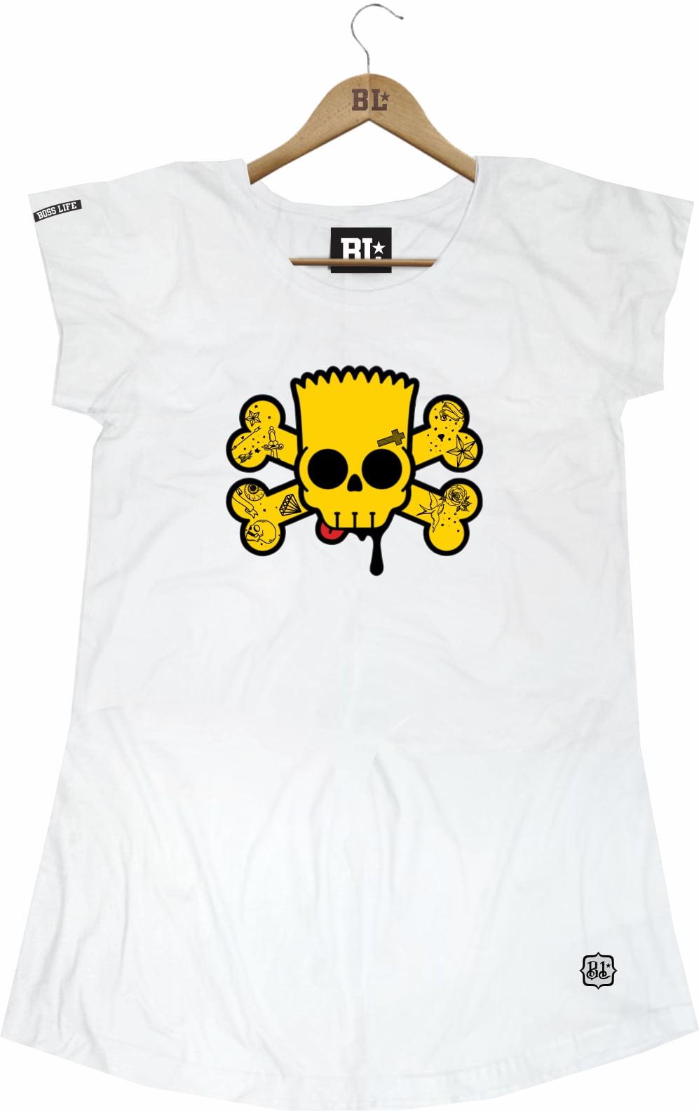 Camiseta Feminina Long Barth Skull
