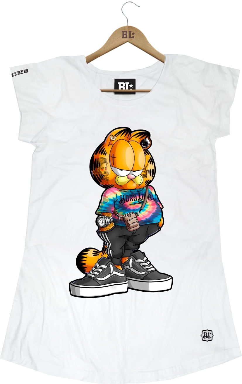 CAMISETA FEMININA LONG GARFIELD
